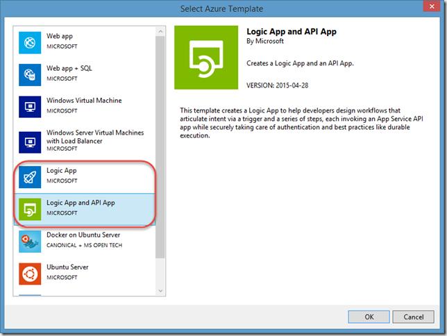 Logic App and API App resource selection dialog