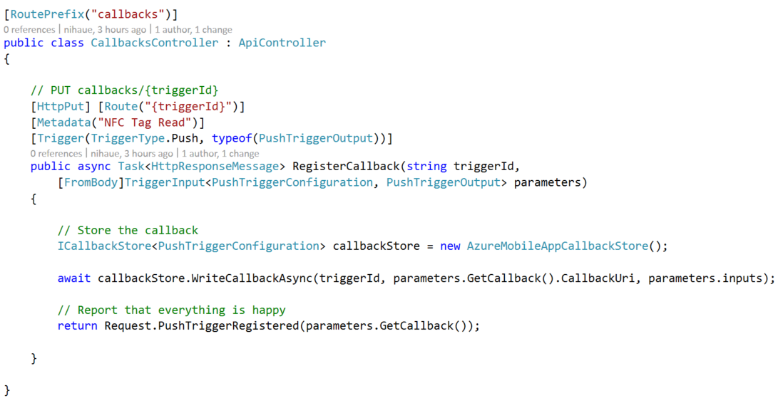 Creating a Push Trigger API App to Process NFC Tag Reads