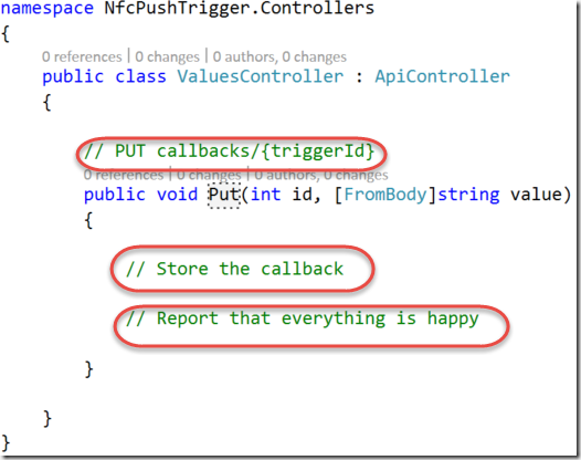 Put method in the default values controller