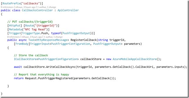 Final implementation of Register Callback method