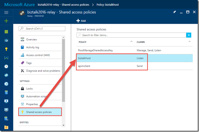 Shared Access Policies for the Azure Relay Namespace